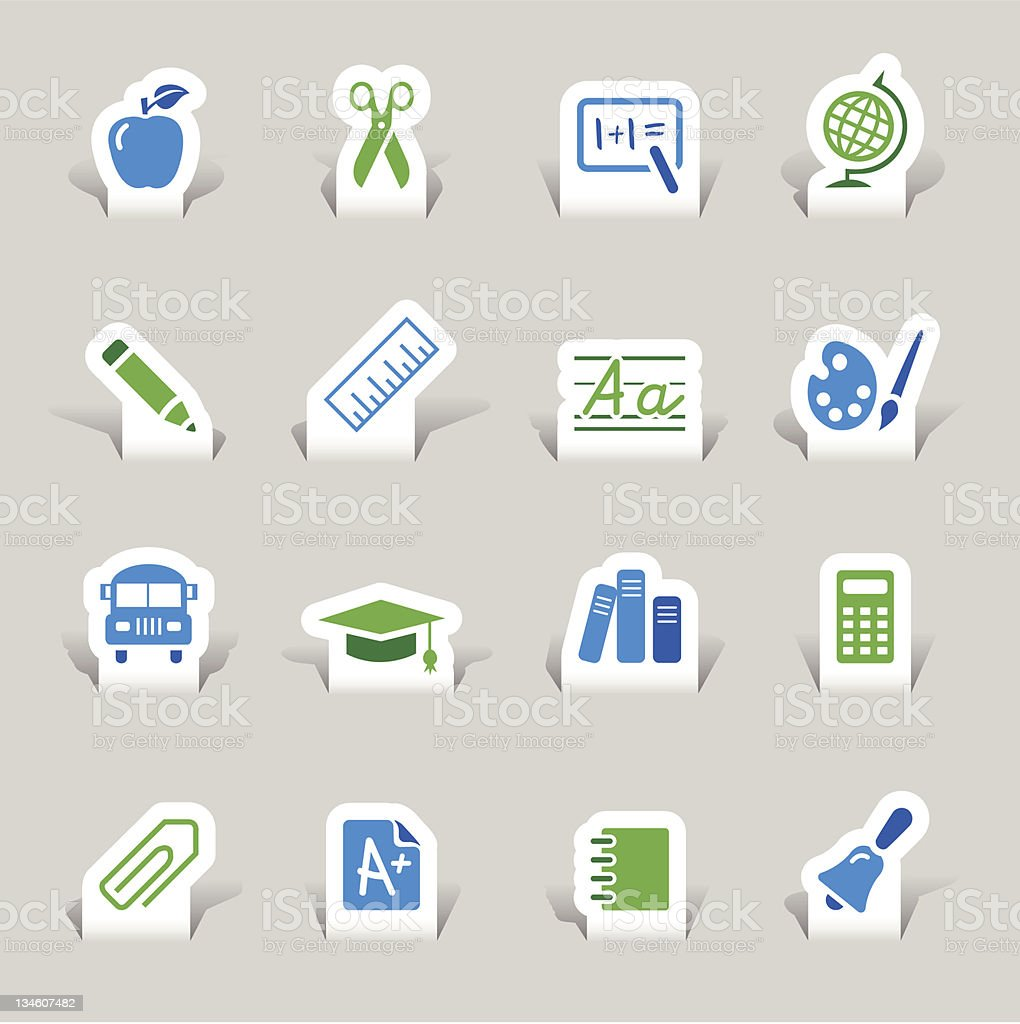 Paper cut - School Icons royalty-free stock vector art