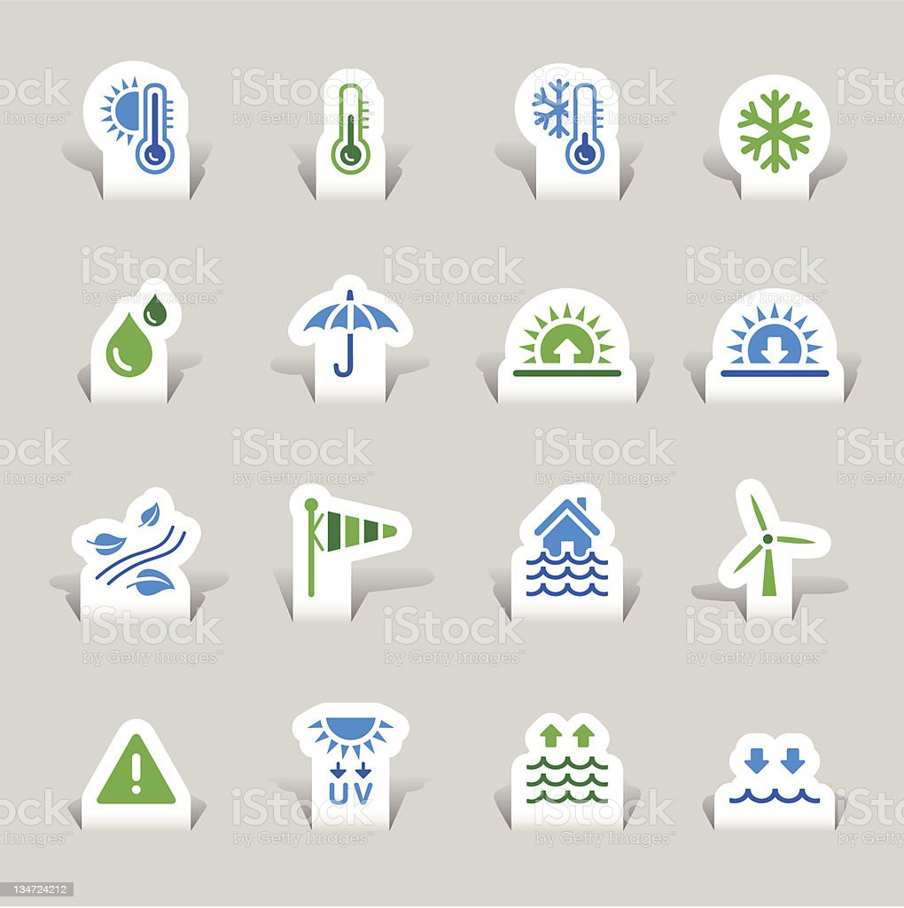 Paper cut -  Weather Icons royalty-free stock vector art