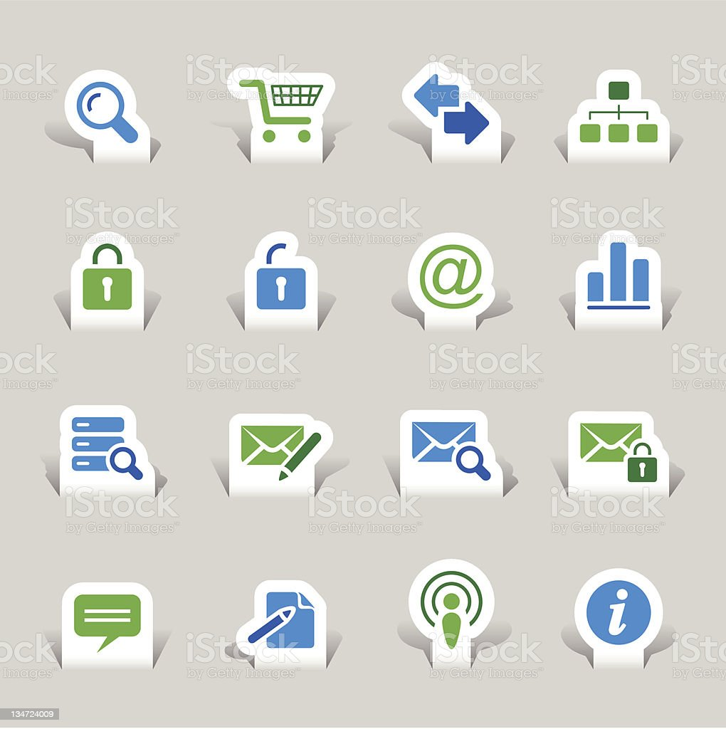 Paper cut - Website and Internet Icons royalty-free stock vector art