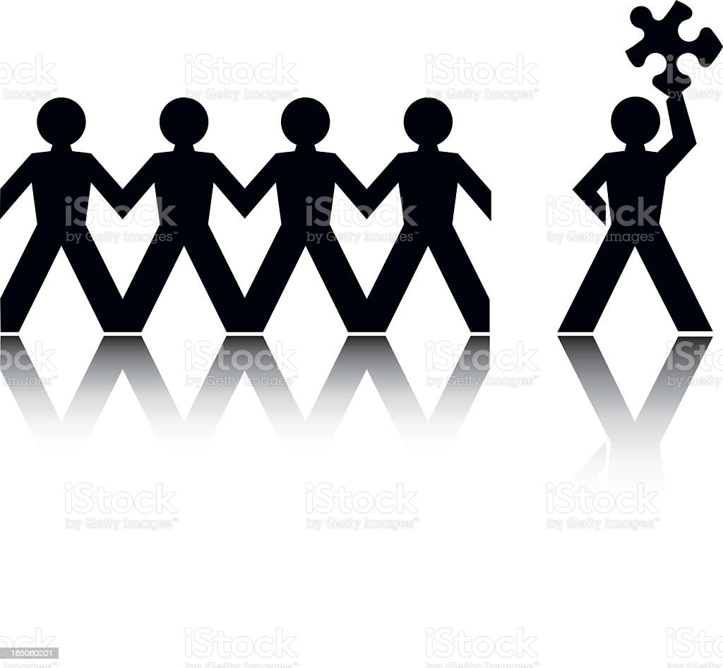 Paper cutout people with one holding a puzzle piece vector art illustration