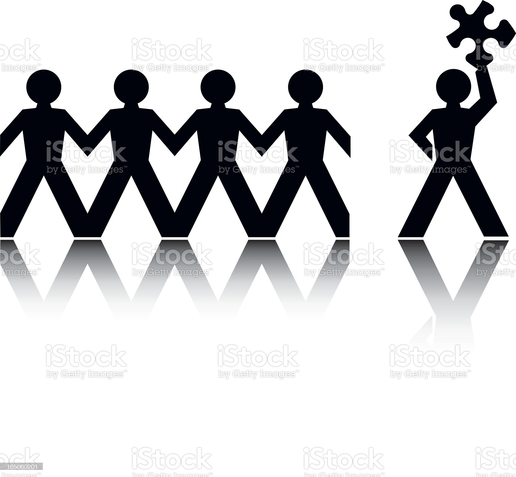 Paper cutout people with one holding a puzzle piece royalty-free stock vector art