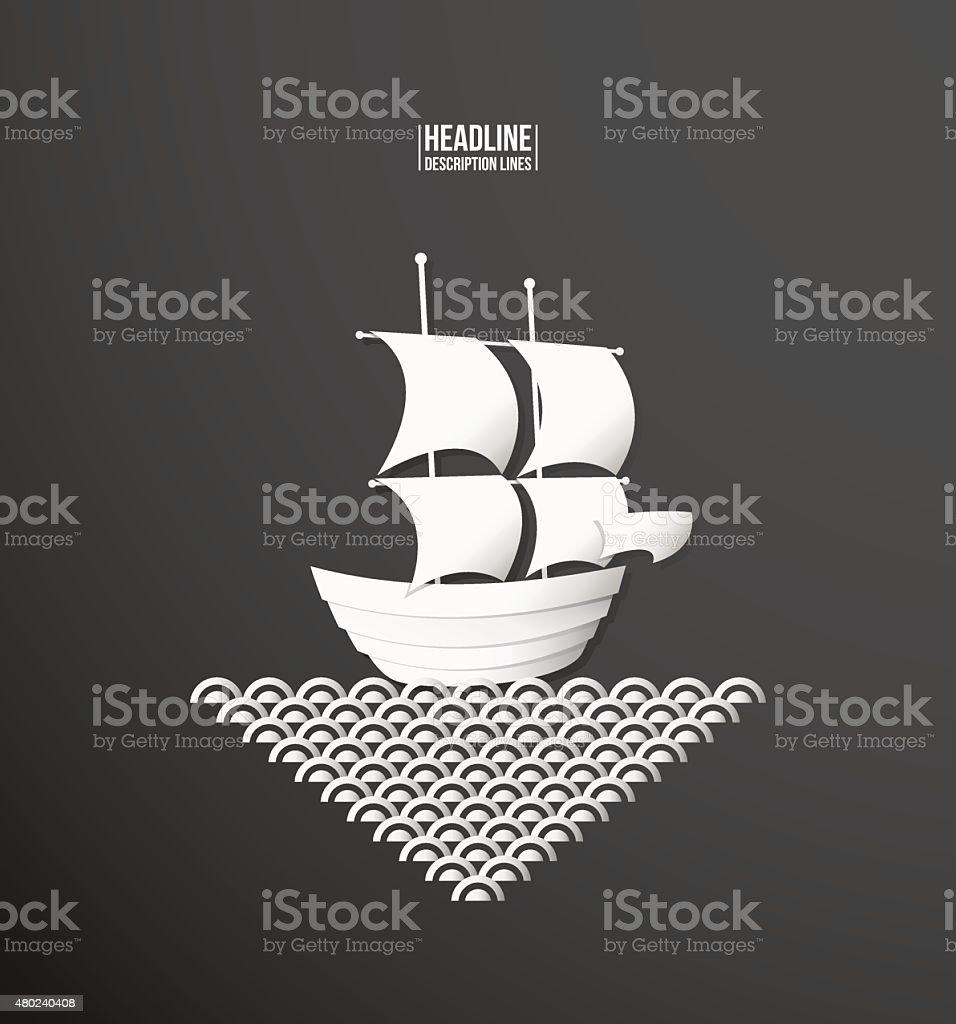 Paper cutout. Ship vector art illustration