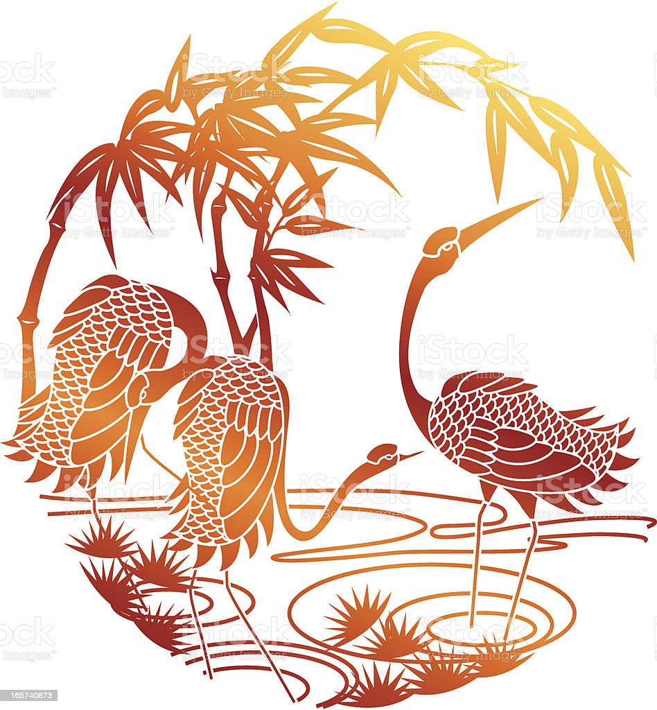 Paper Cutting Of Sunset Crane vector art illustration