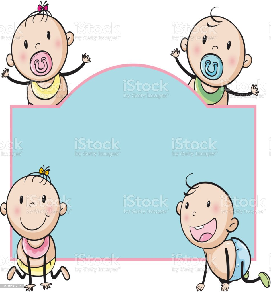Paper design with babies vector art illustration