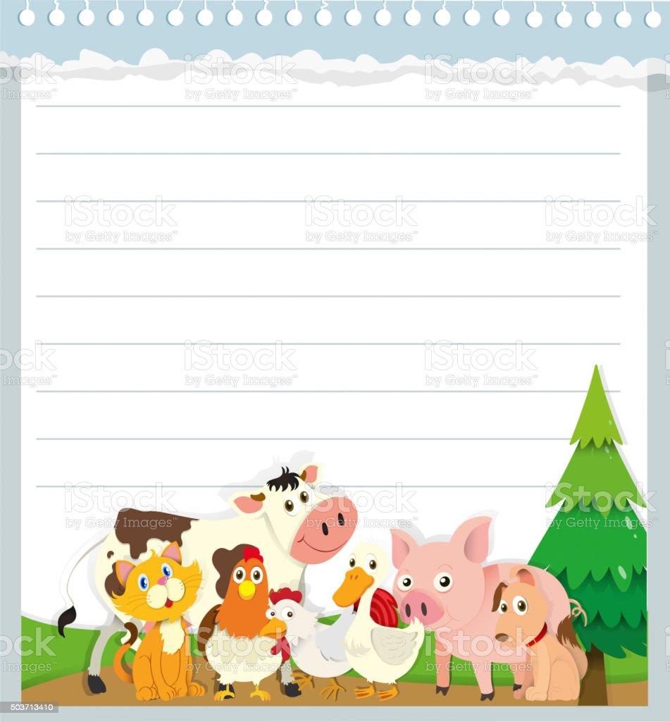 Paper design with farm animals vector art illustration
