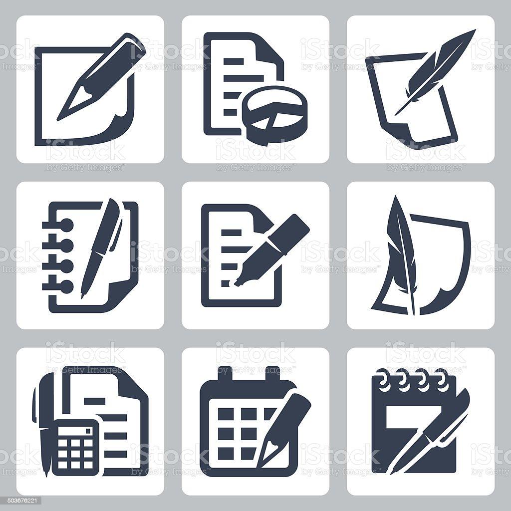 Paper document vector icons set vector art illustration