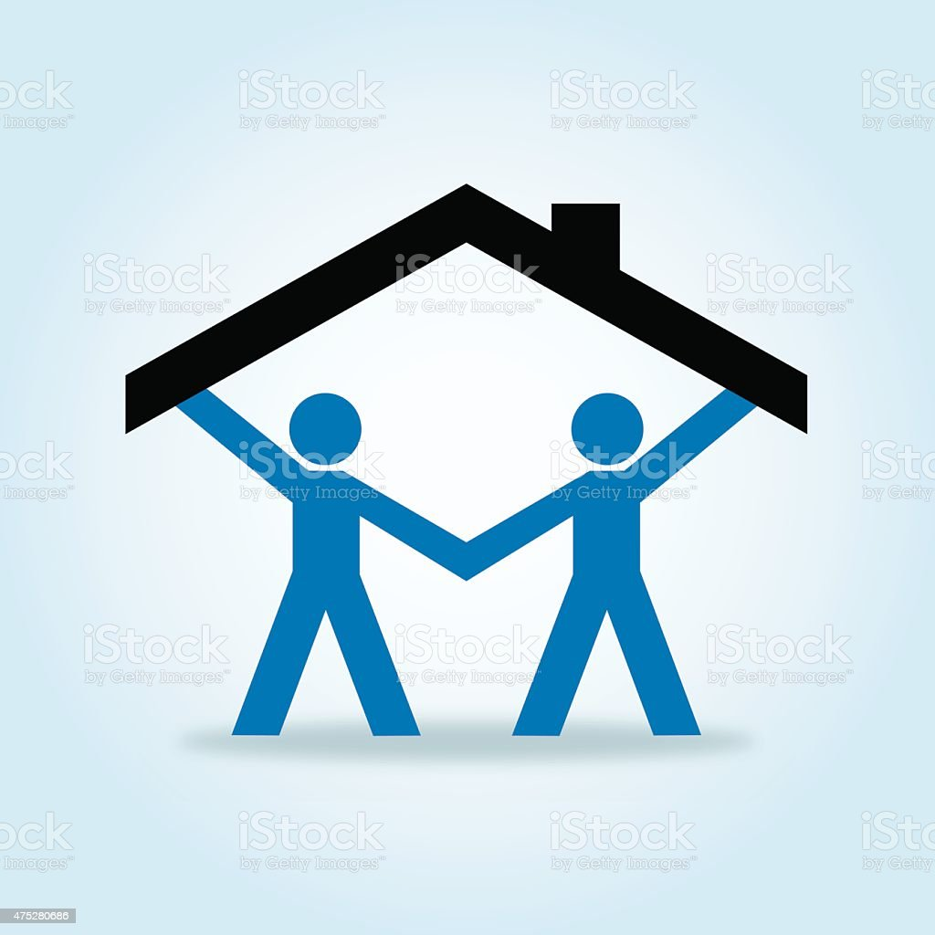 Paper Doll Gay Couple Holding Up Roof vector art illustration