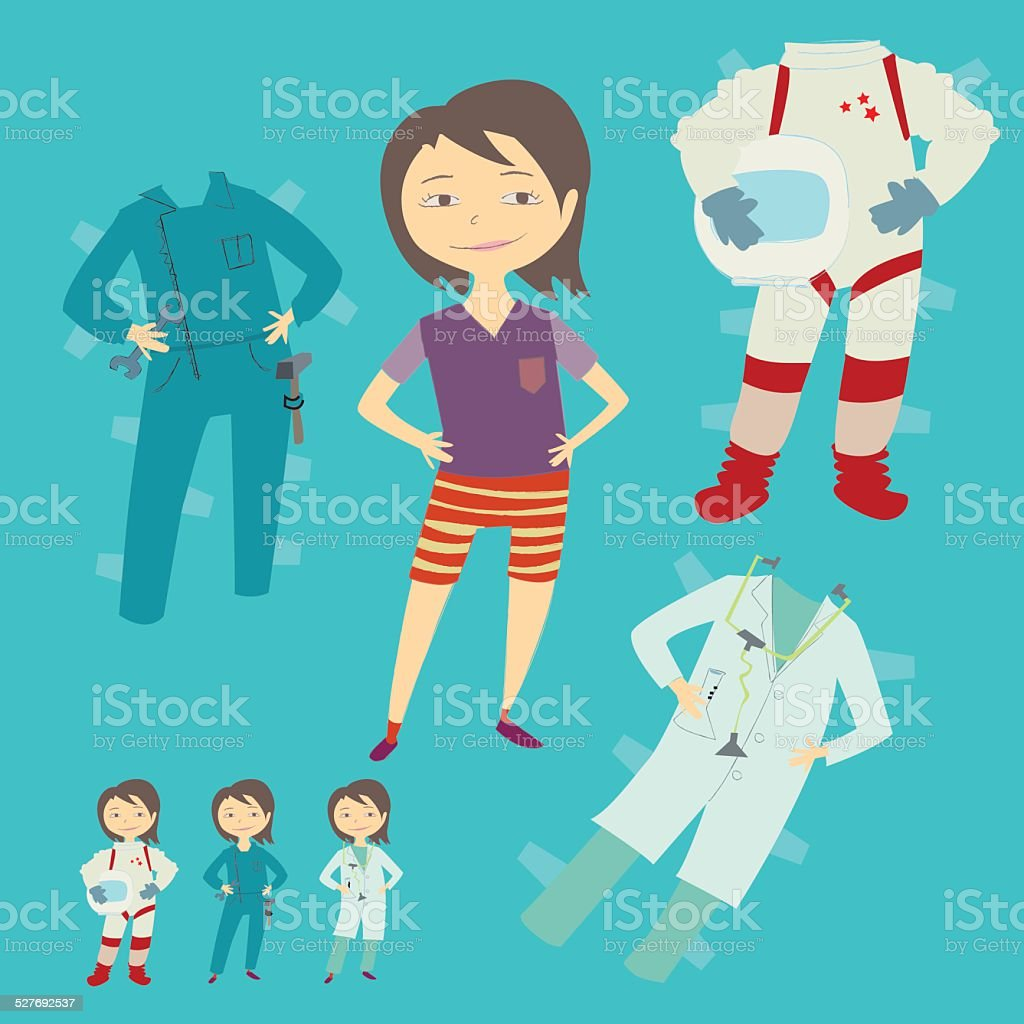 Paper doll girl vector art illustration