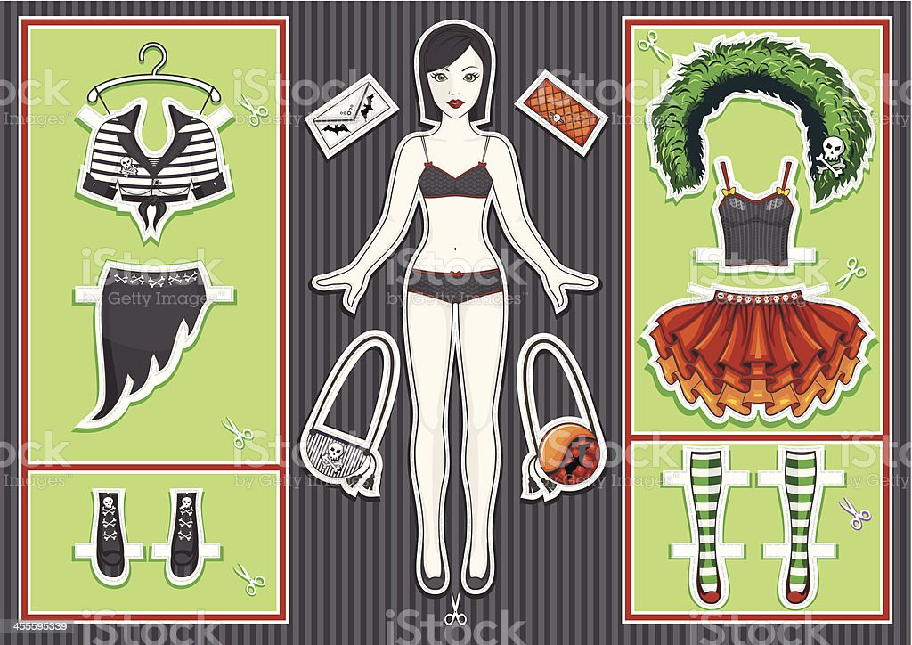 Paper doll. Halloween collection. vector art illustration