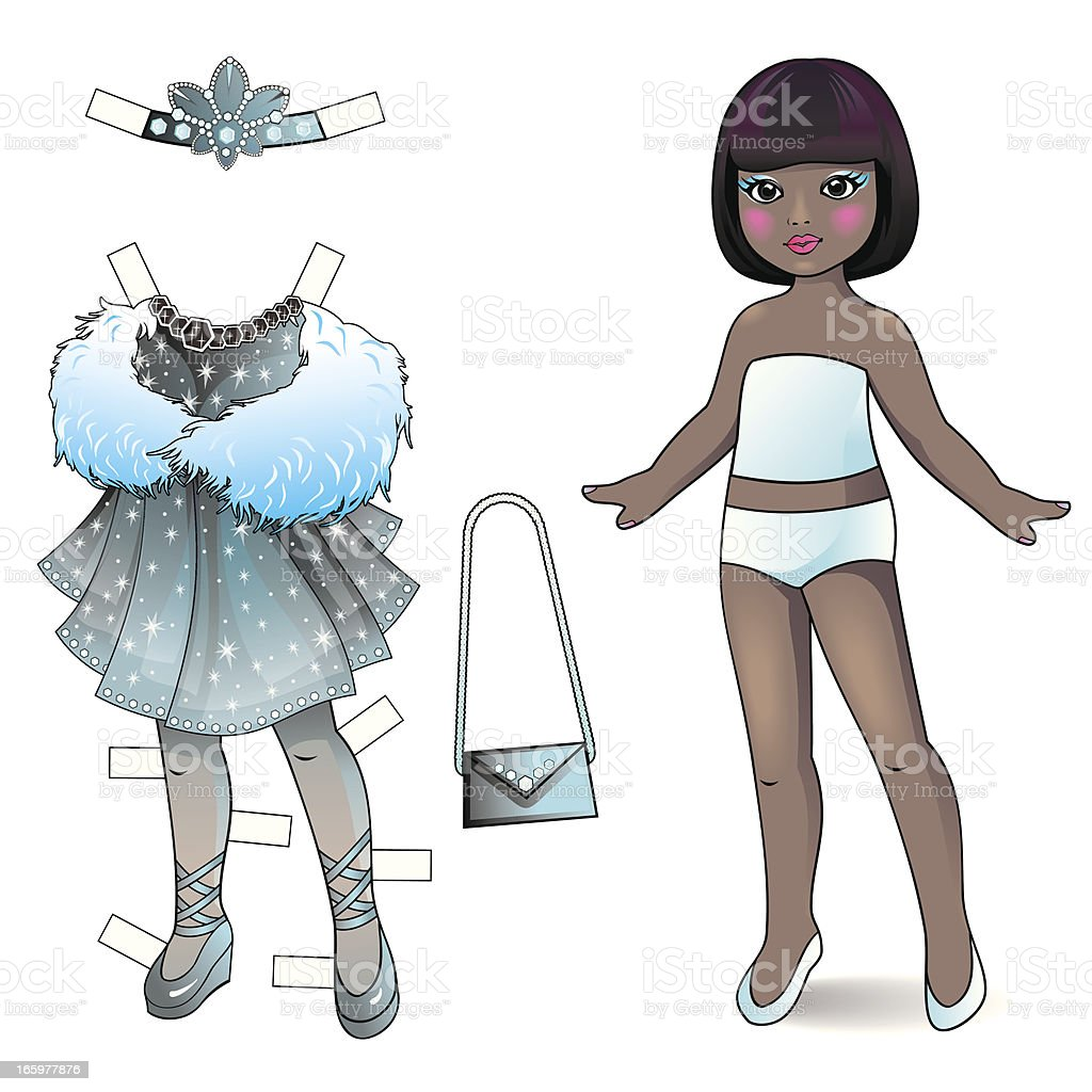 Paper doll. Princess collection. vector art illustration
