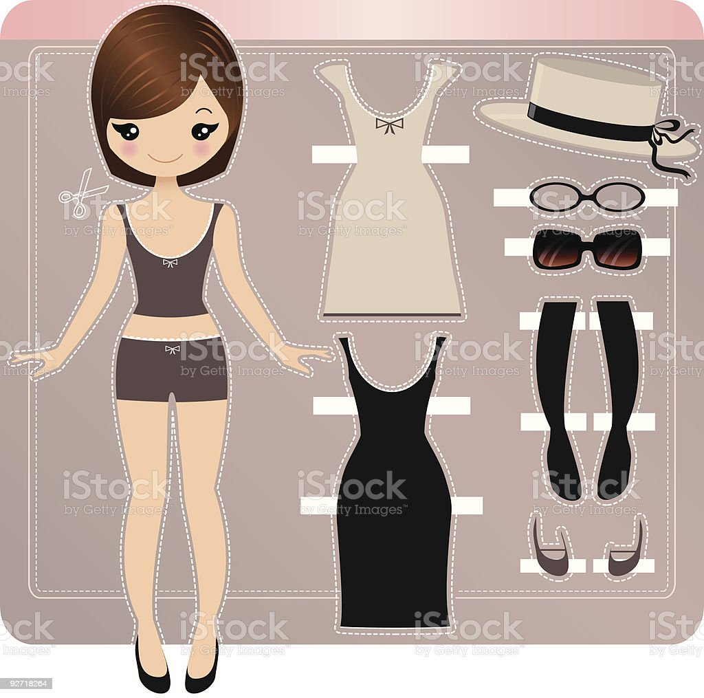 Paper doll set featuring black dress, straw hat and glasses vector art illustration