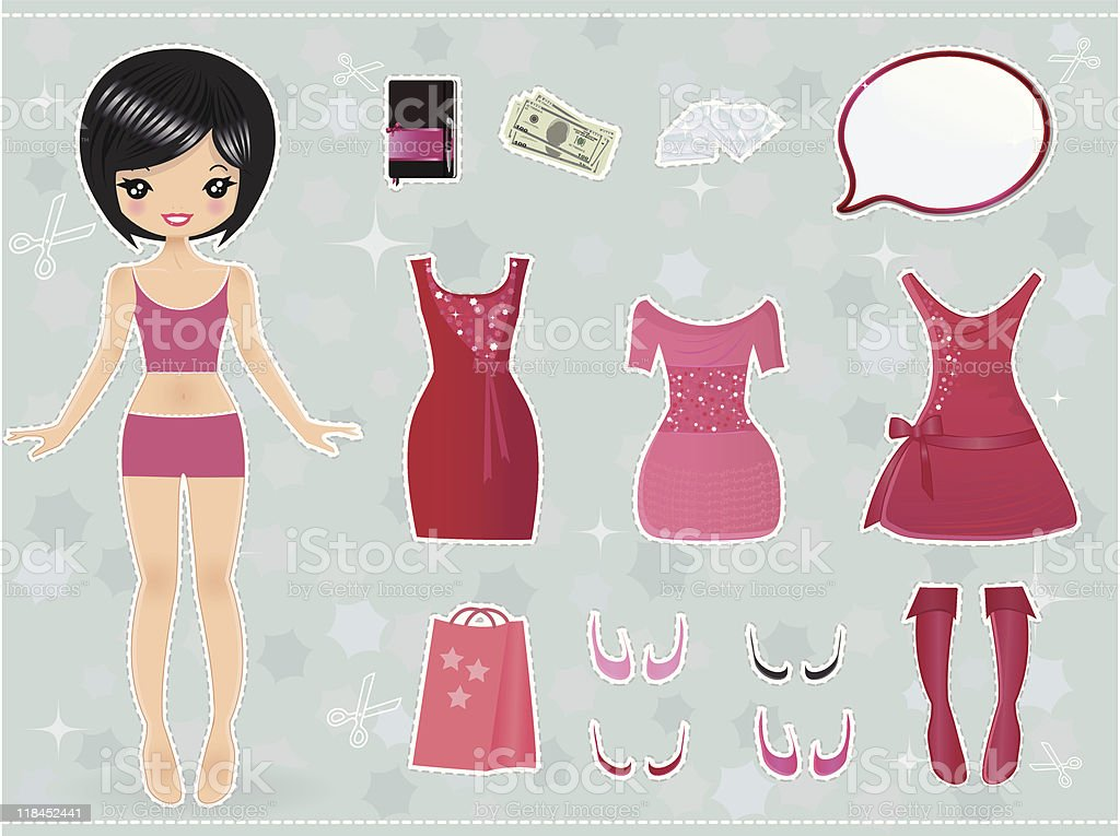 Paper Doll vector art illustration