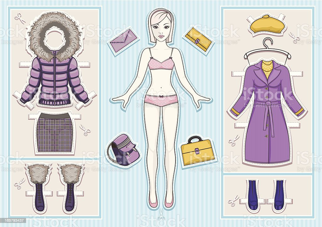 Paper doll. vector art illustration