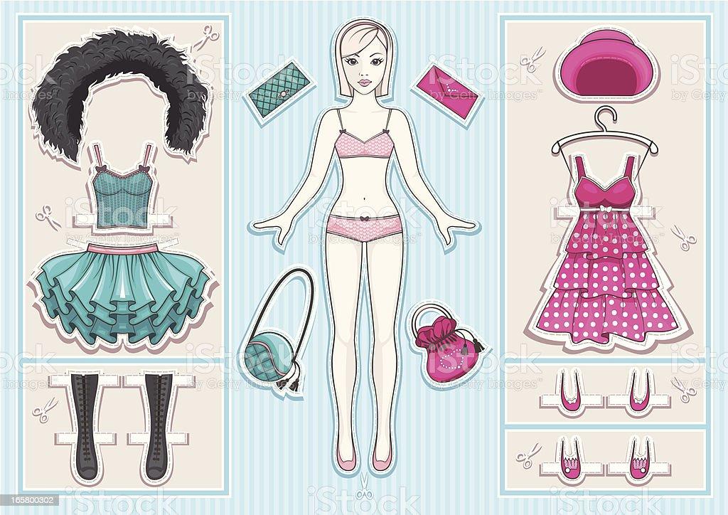 Paper Doll vector art illustration