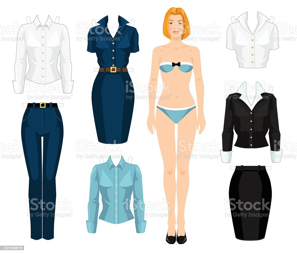 Paper doll with clothes. vector art illustration