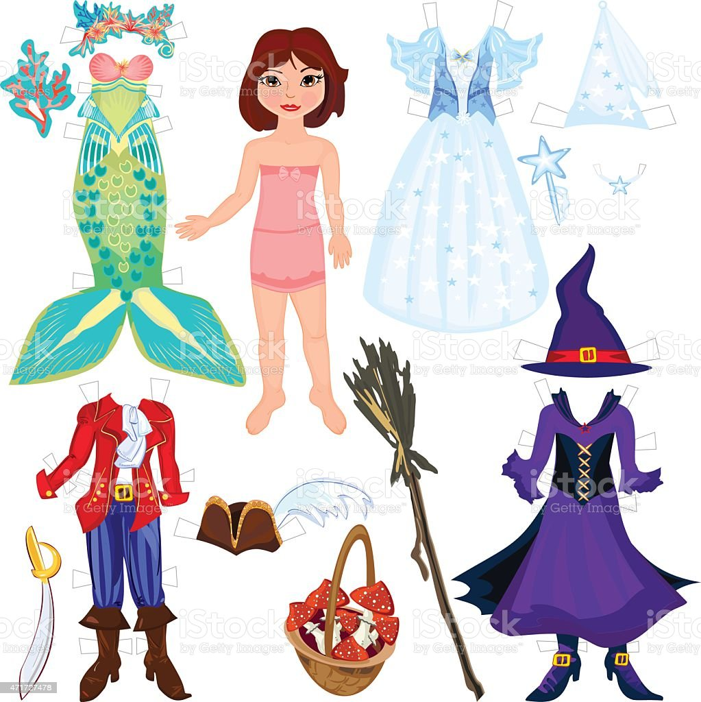 Paper doll with costumes vector art illustration