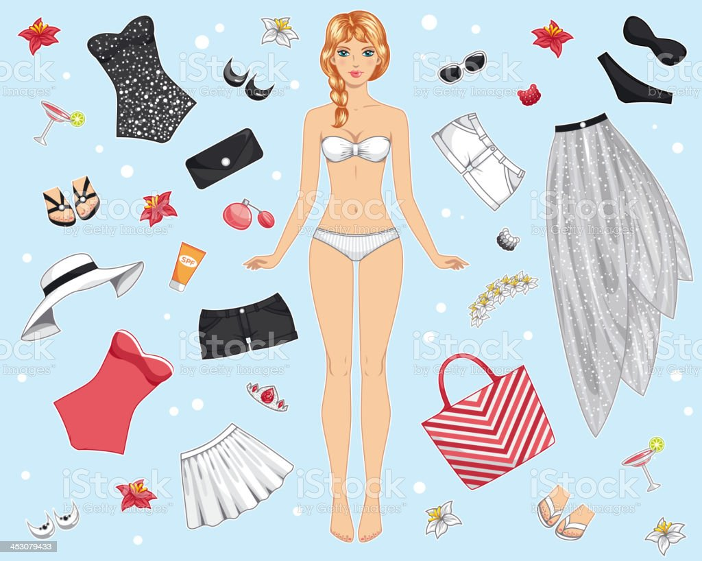 paper doll with summer clothes vector art illustration