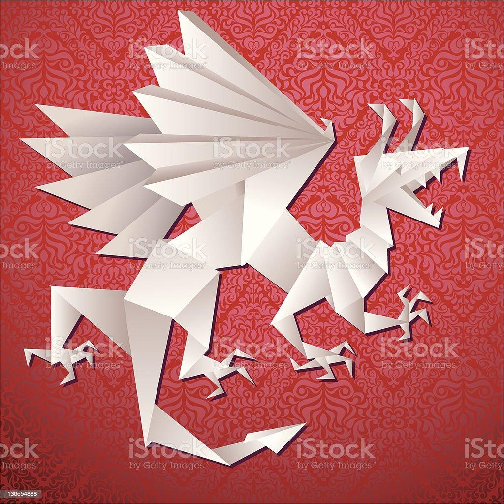 Paper dragon, origami royalty-free stock vector art