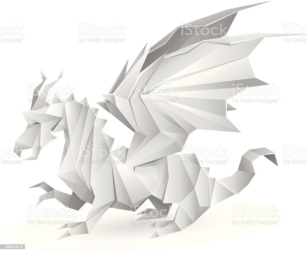 Paper dragon origami royalty-free stock vector art