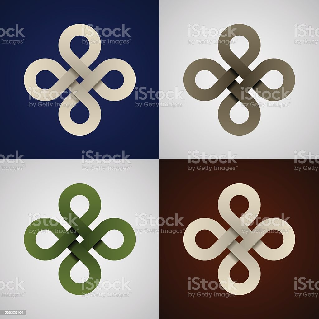 paper endless celtic knots vector art illustration