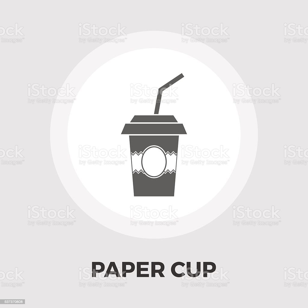 Paper fast food cup icon flat vector art illustration