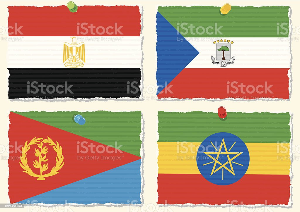 Paper Flags vector art illustration