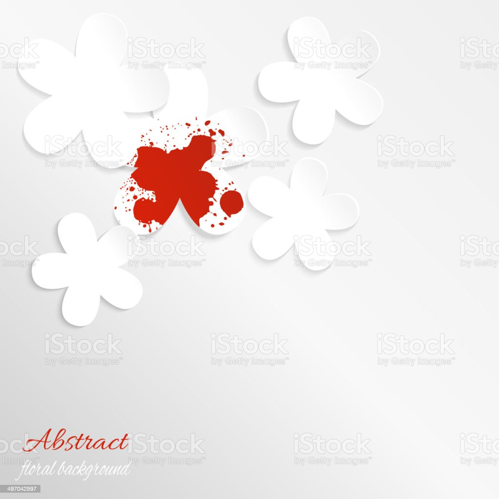 Paper floral background with red spot vector art illustration