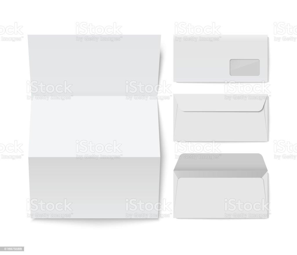 Paper folded letter and blank envelope template vector art illustration
