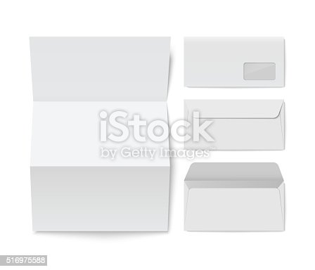 Paper Folded Letter And Blank Envelope Template Stock Vector Art