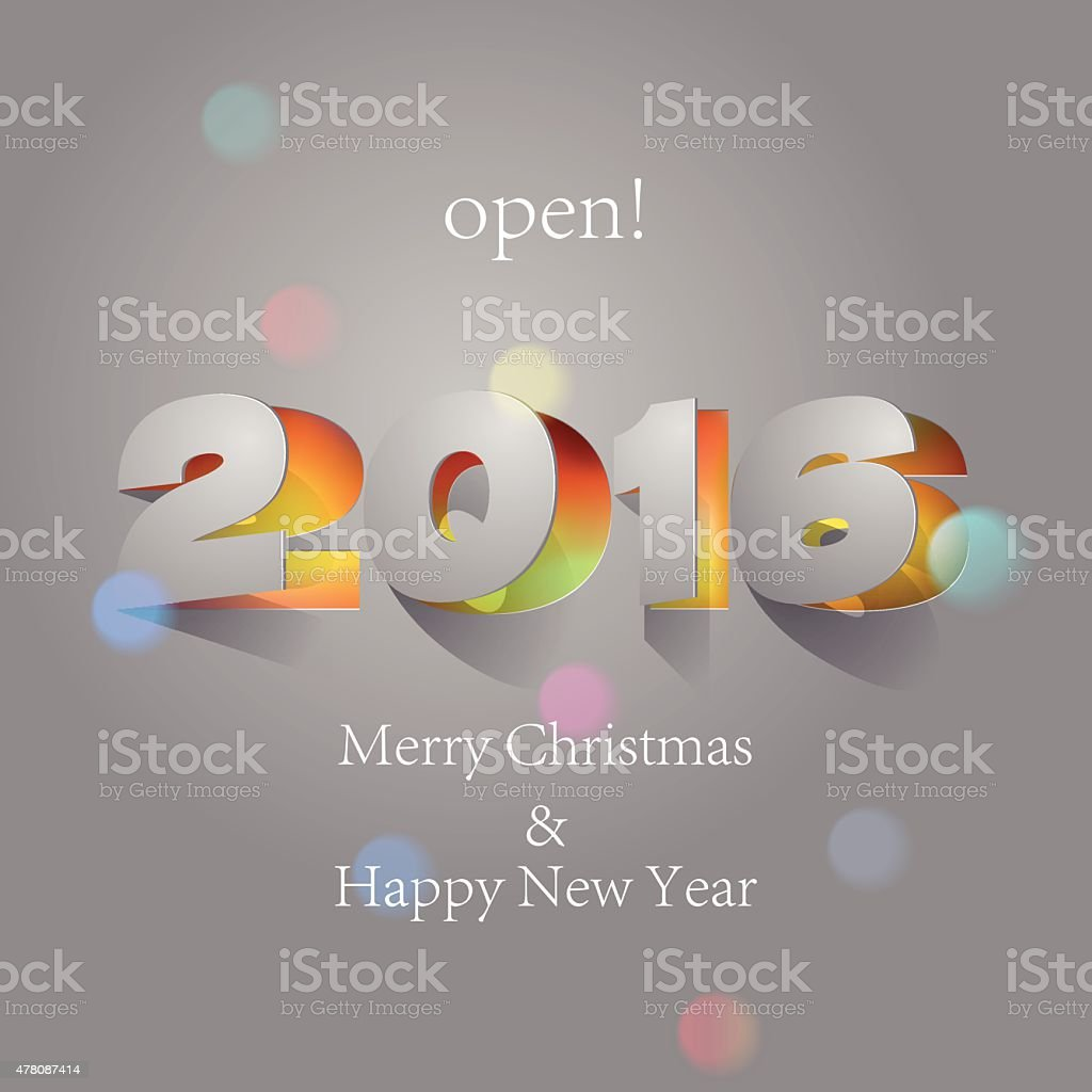 Paper Folding with Letter with colorful spot lights, Happy New Year.