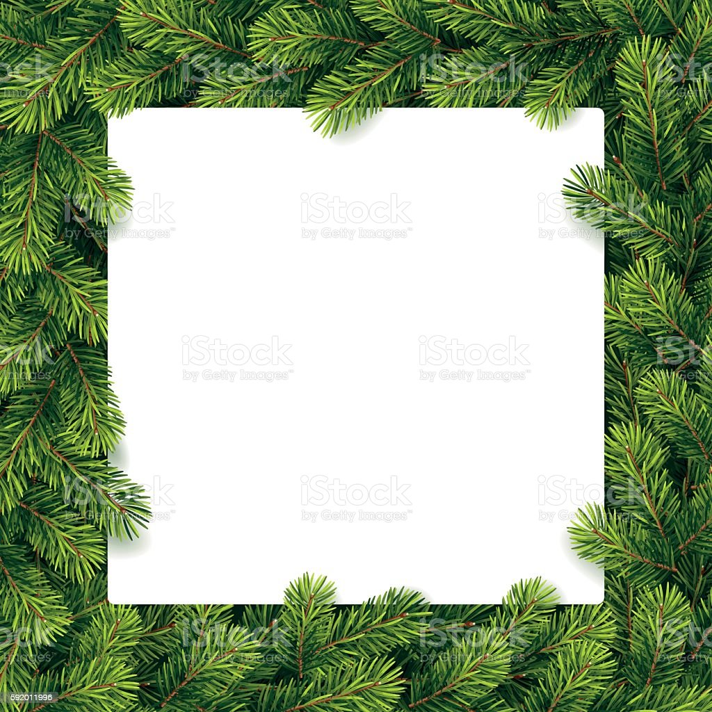 Paper for christmas list on a pine branches vector art illustration
