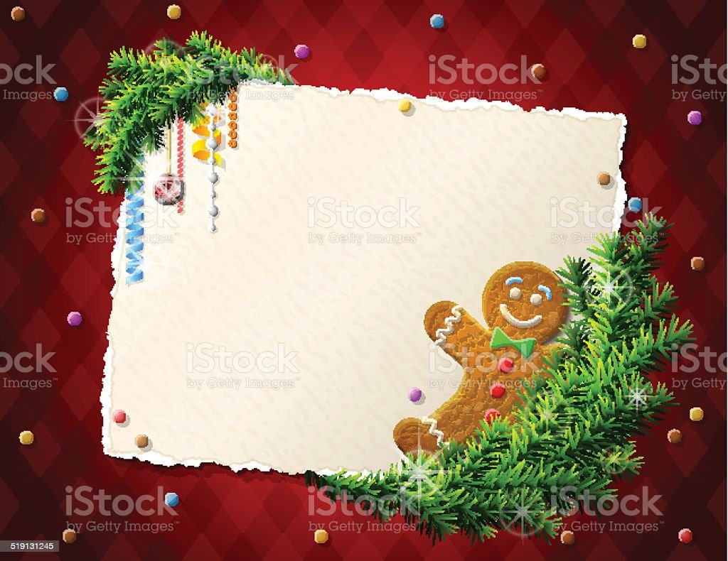 Paper for christmas list with gingerbread man vector art illustration