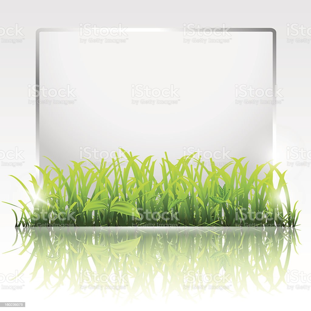 Paper frame with green grass royalty-free stock vector art