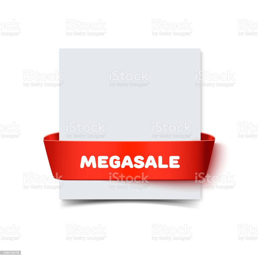 Paper greeting card with curved red gift ribbon bow isolated vector art illustration