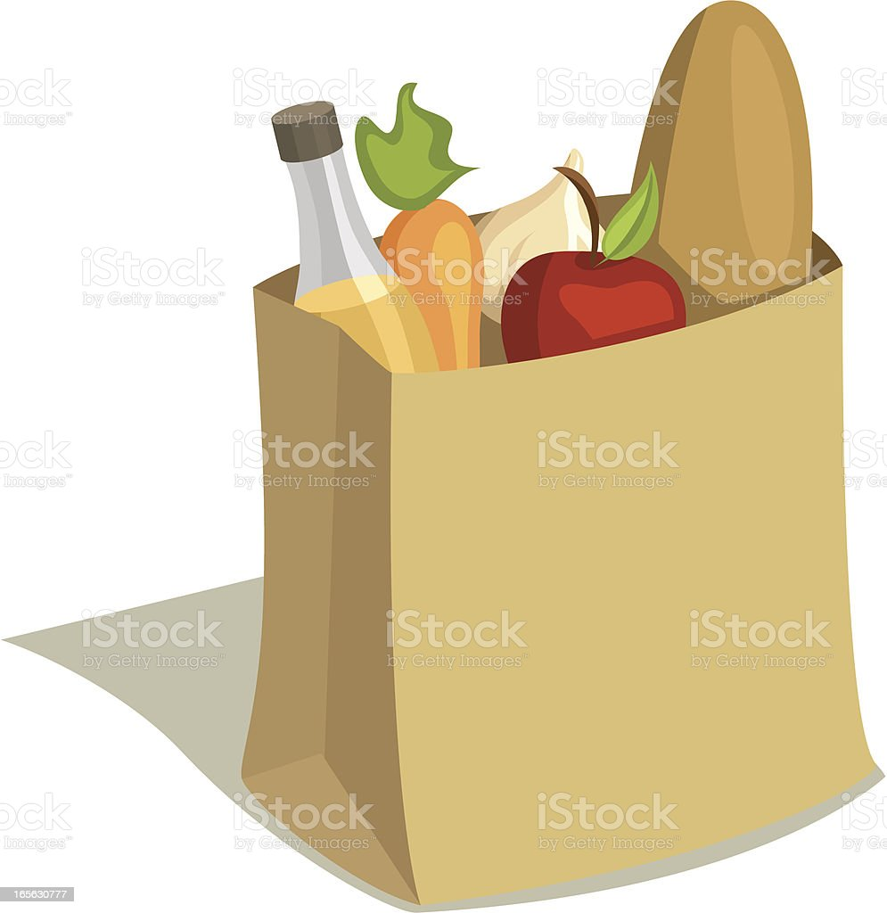 Paper Grocery Bag Full of Food royalty-free stock vector art