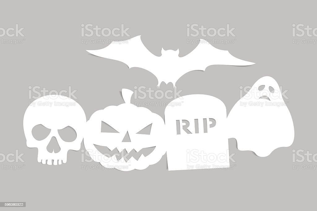 Paper halloween symbols vector art illustration