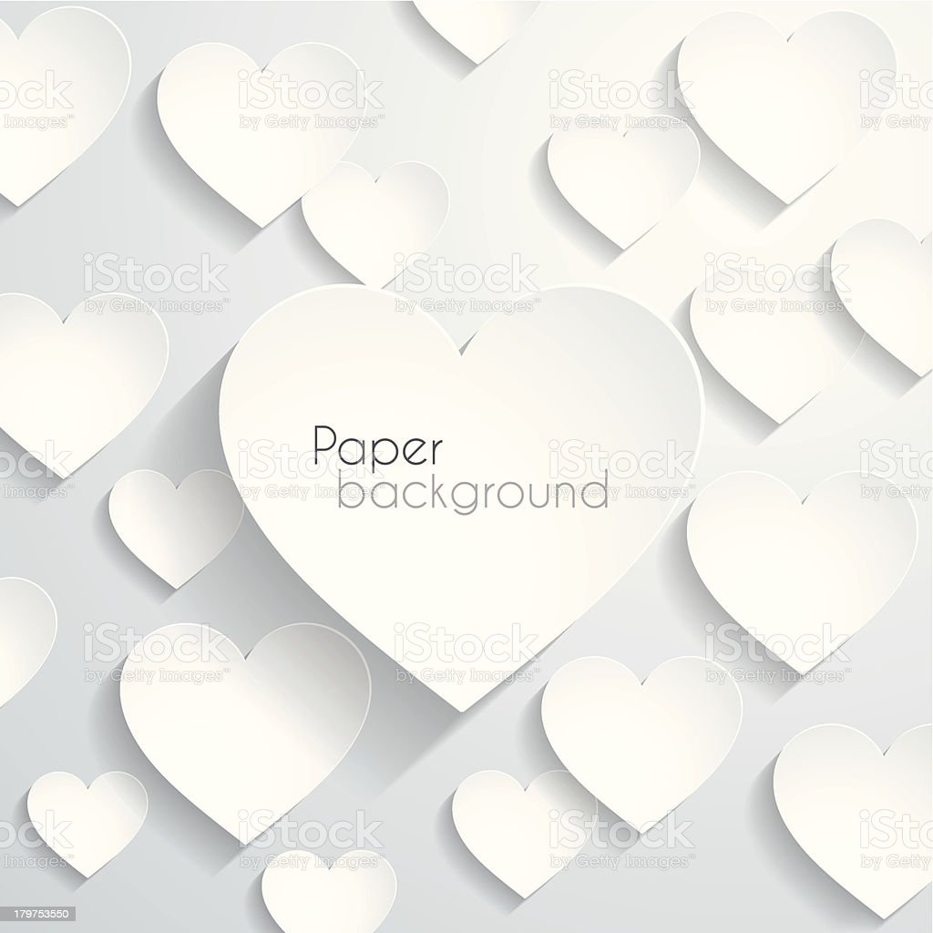 Paper heart background vector art illustration