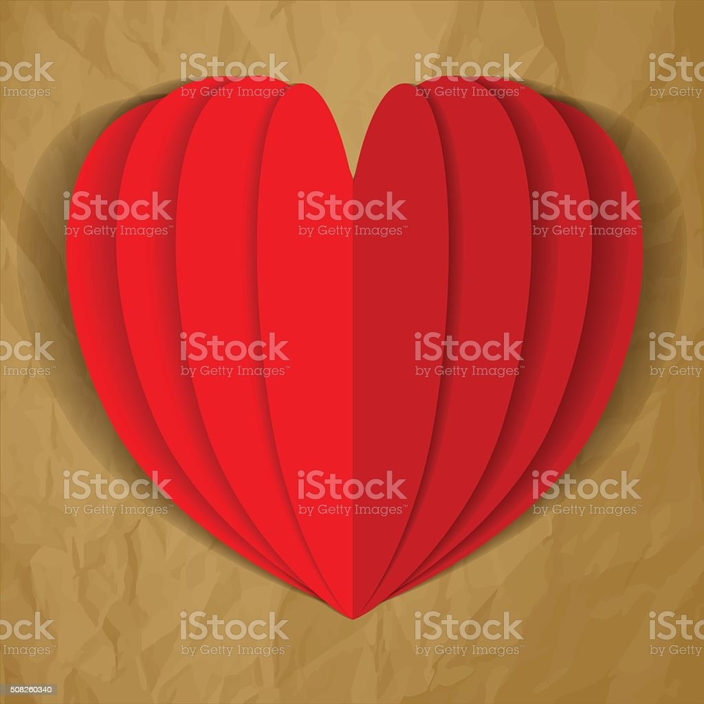 Paper heart latern flower vector red on a brown background. vector art illustration
