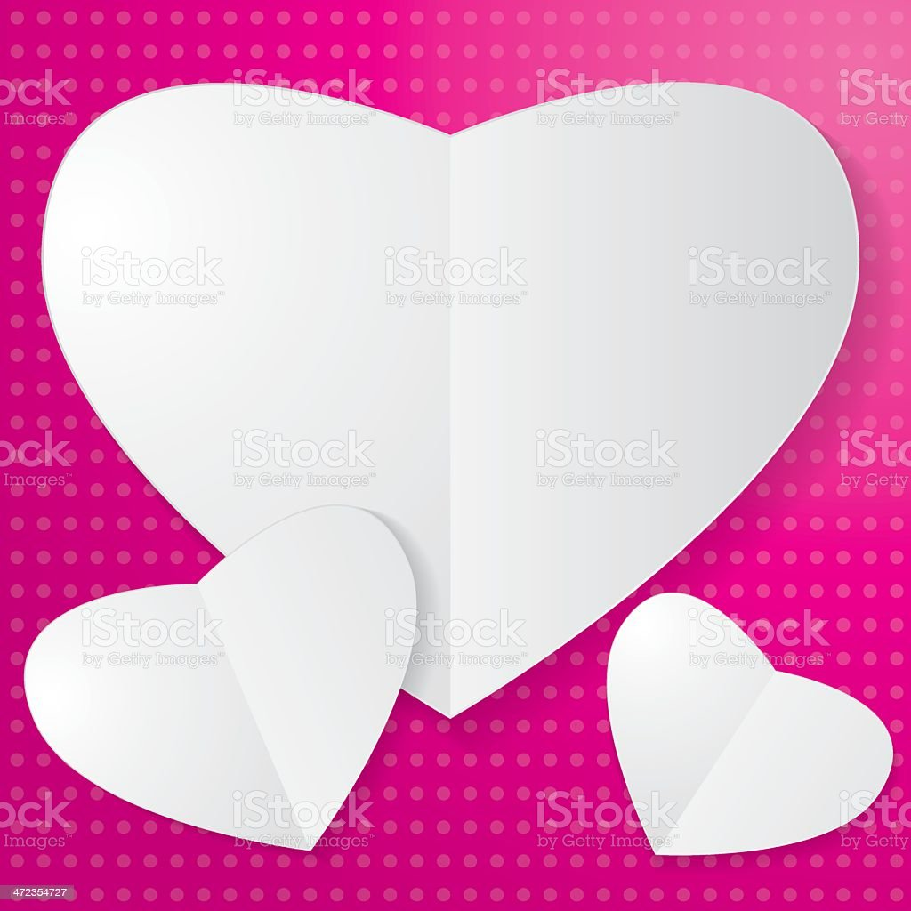 Paper Heart on pink background royalty-free stock vector art