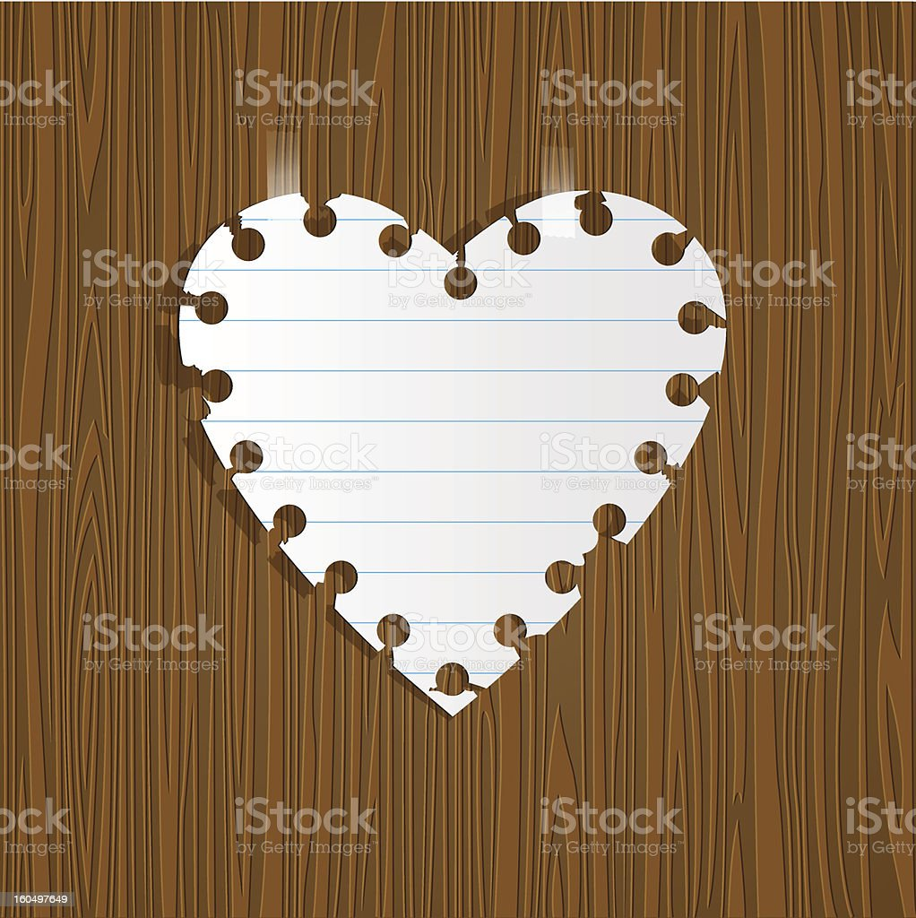 Paper heart on wooden background royalty-free stock vector art