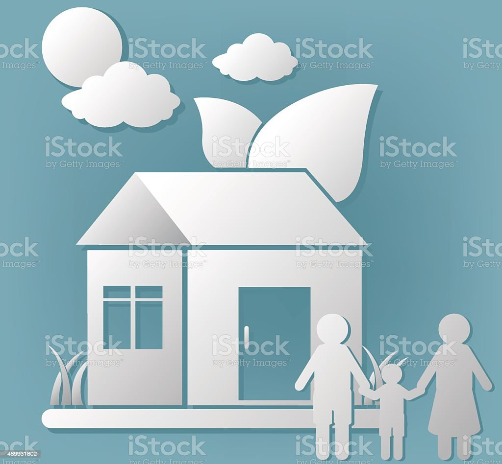 paper home and people icon nature live vector art illustration