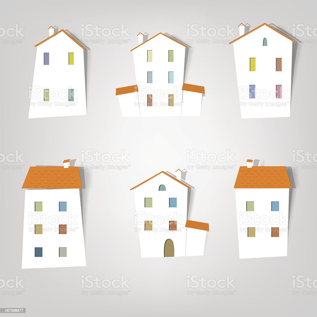 Maisons en papier stock vecteur libres de droits libre de droits