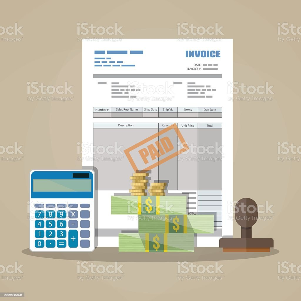 paper invoice, paid stamp, calculator, cash money vector art illustration