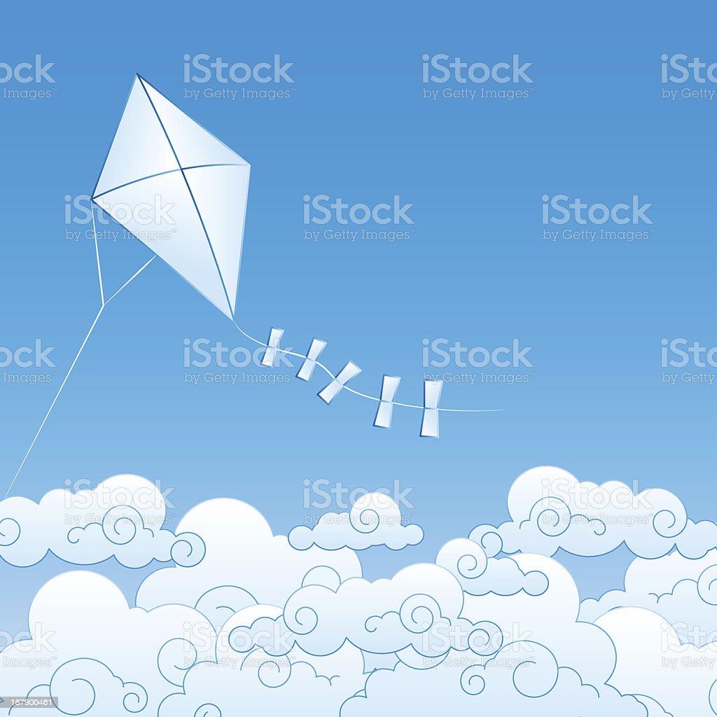Papel kite-se nas nuvens vetor e ilustração royalty-free royalty-free