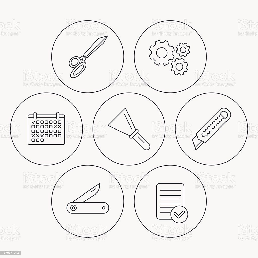 Paper knife, spatula and scissors icons. vector art illustration