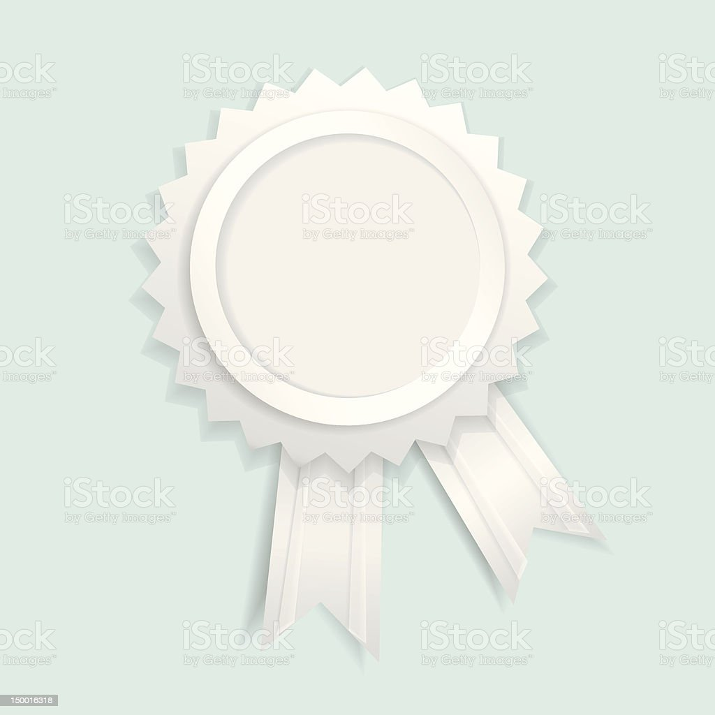 Paper label with ribbons on blue background royalty-free stock vector art