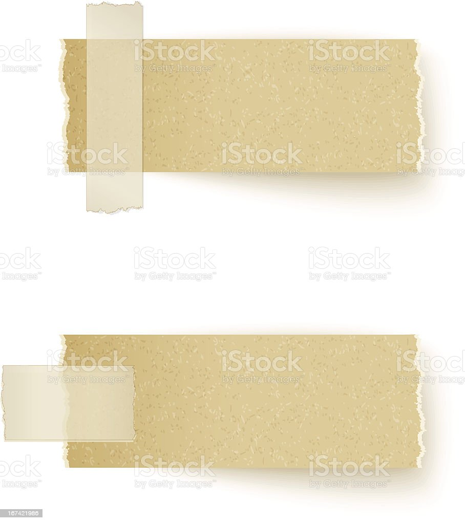 paper labels attached with sticky tape on white background vector art illustration