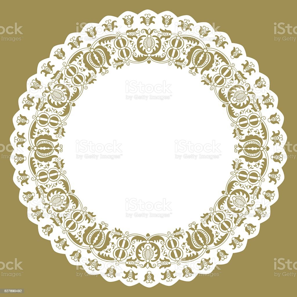 Paper lace edged circle doily vector art illustration