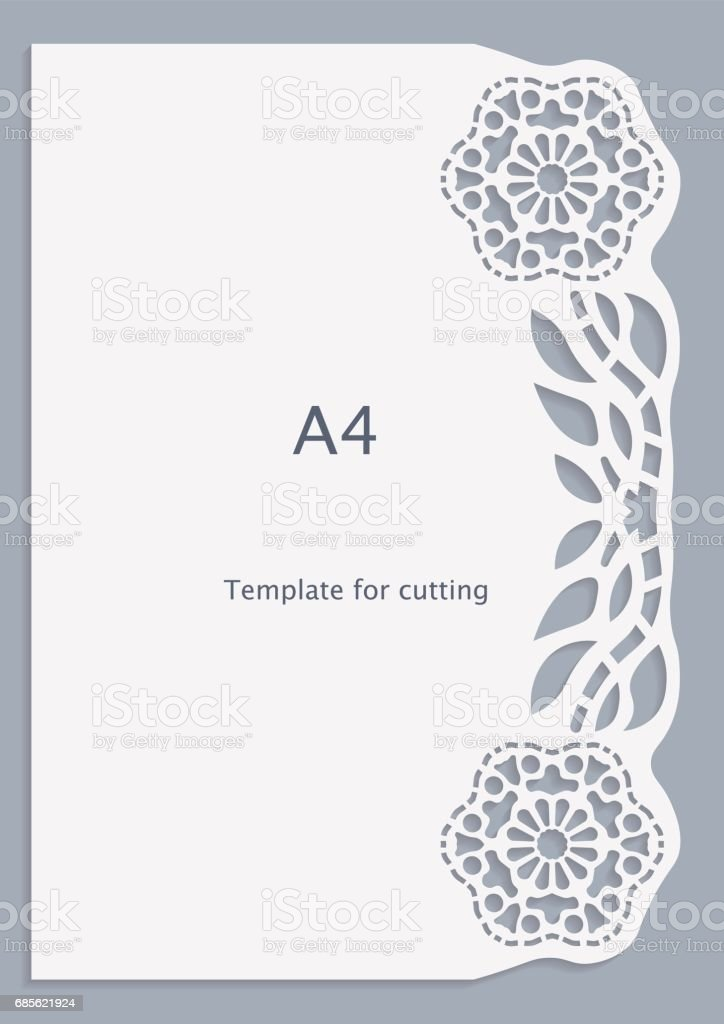 A4 Paper Lace Greeting Card White Pattern Cutout Template Template