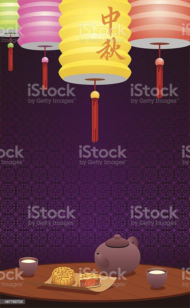 Paper lanterns and Chinese tea illustration vector art illustration